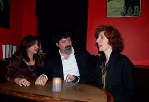 """Tia Lessin and Carl Deal, Producer/Directors of """"Trouble The Water"""" chat with Maureen Ryan, producer of """"Man on Wire."""" The films tied for 2008 EDA Award for Best Documentary. (Credit: Frank Lovece)"""